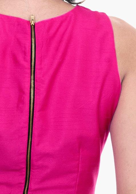 Fuchsia Fame Silk Crop Top
