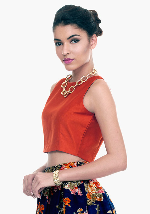 Brick Orange Silk Crop Top
