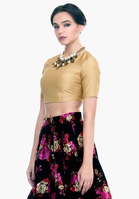 Gold Gild Silk Crop Top