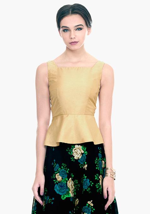 Gold Flare Silk Peplum Top
