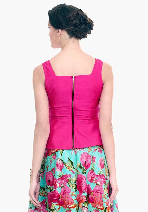 Pink Flare Silk Peplum Top