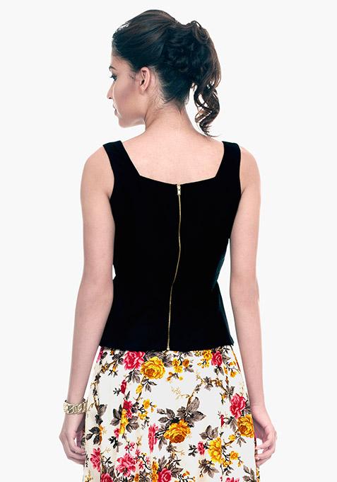 Black Flare Silk Peplum Top