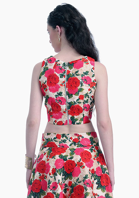 Vivid Blooms Silk Crop Top