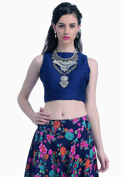 Navy Lust Silk Crop Top