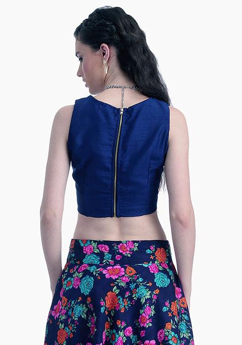 Navy Lust Silk Crop Top