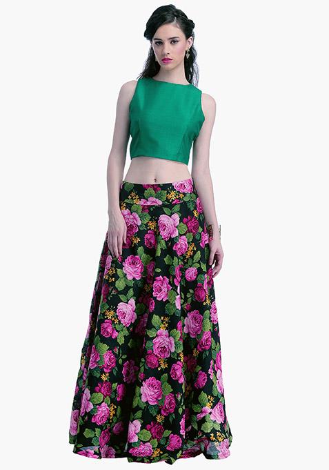 Emerald Lust Silk Crop Top