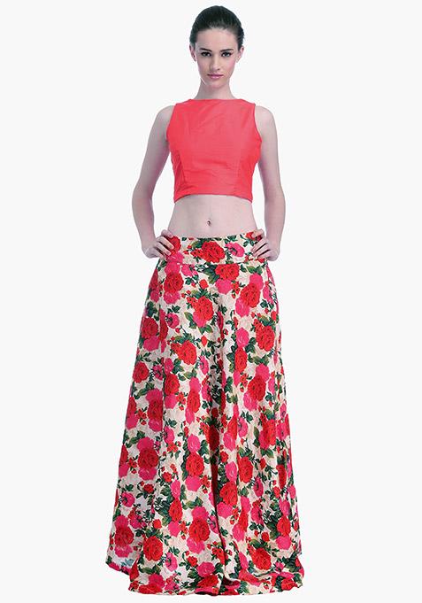 Coral Lust Silk Crop Top