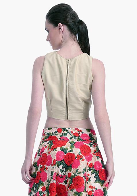 Beige Lust Silk Crop Top