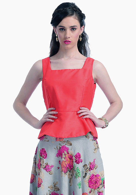 Coral Lust Silk Peplum Top