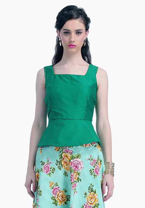 Emerald Lust Silk Peplum Top