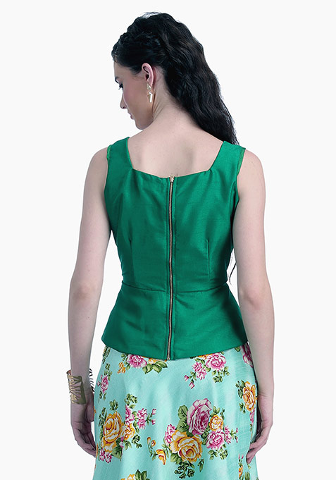 Emerald Lust Silk Peplum Top