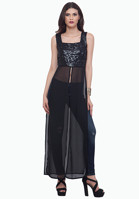 Black Sequin Maxi Top