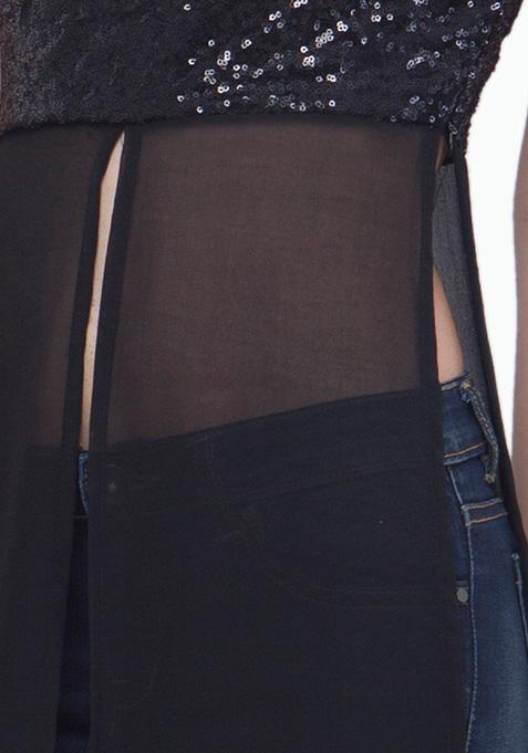 Black Sequin Maxi Top