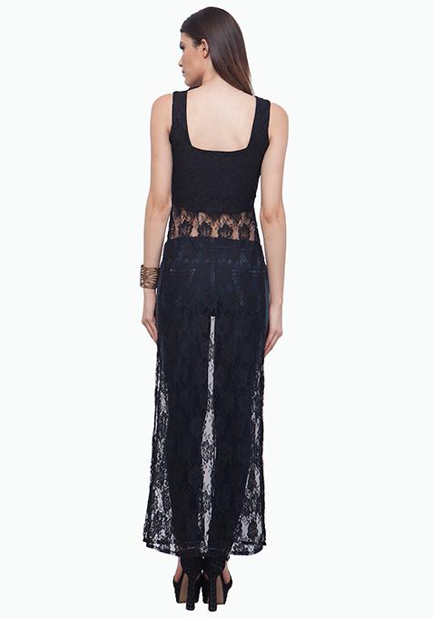 Black Lace Maxi Top