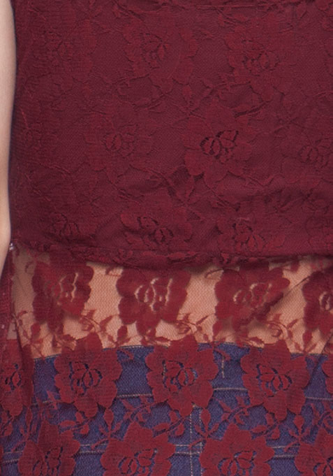 Oxblood Lace Maxi Top