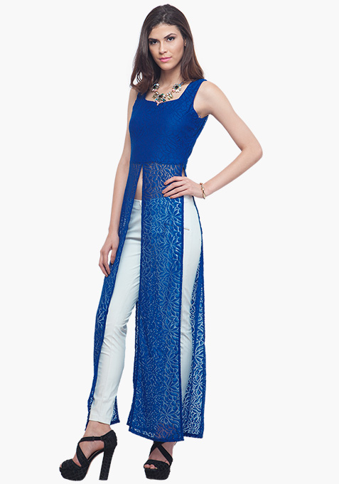 Blue Lace Maxi Top