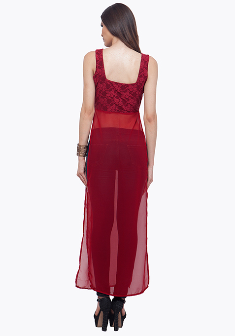Oxblood Sheer Lace Maxi Top