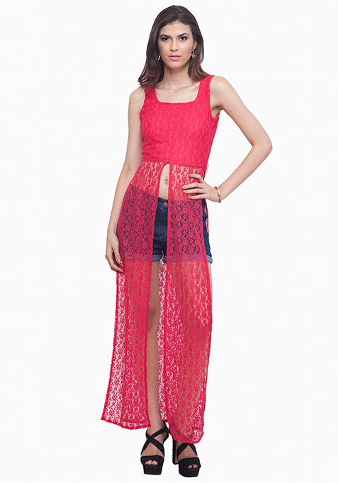 Fuchsia Lace Maxi Top