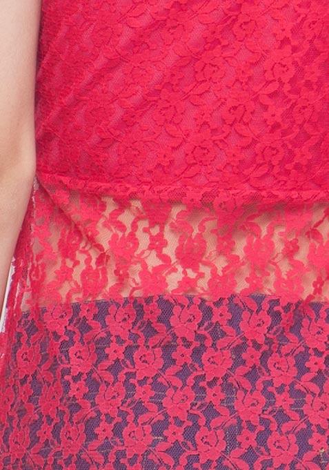 Fuchsia Lace Maxi Top