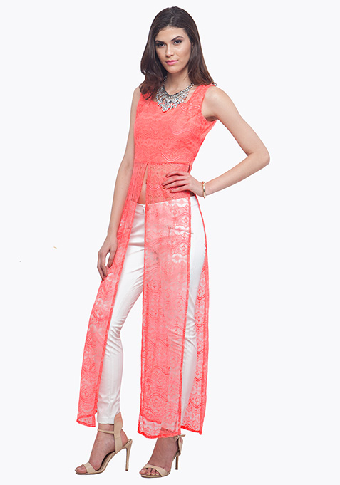 Coral Lace Maxi Top