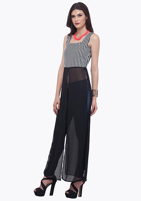 Striped Maxi Top - Black