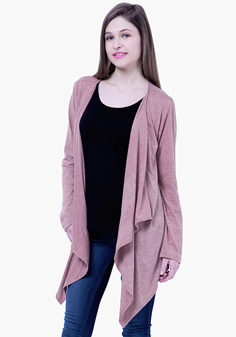 BASICS Slub Drape Shrug - Old Rose