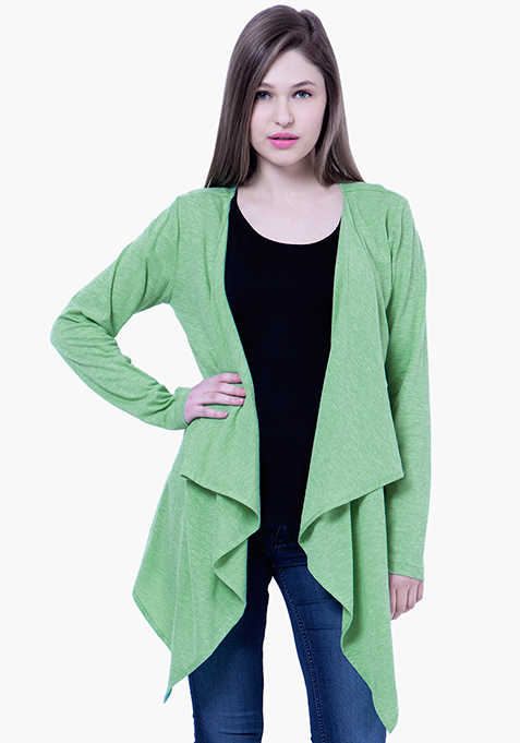 BASICS Slub Drape Shrug - Green
