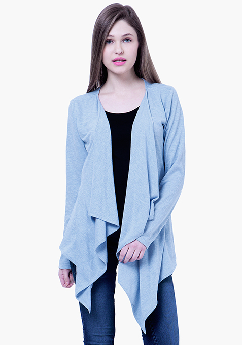 BASICS Slub Drape Shrug - Blue