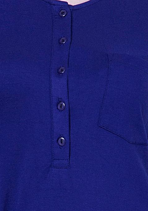BASICS Classic Henley Tee - Blue
