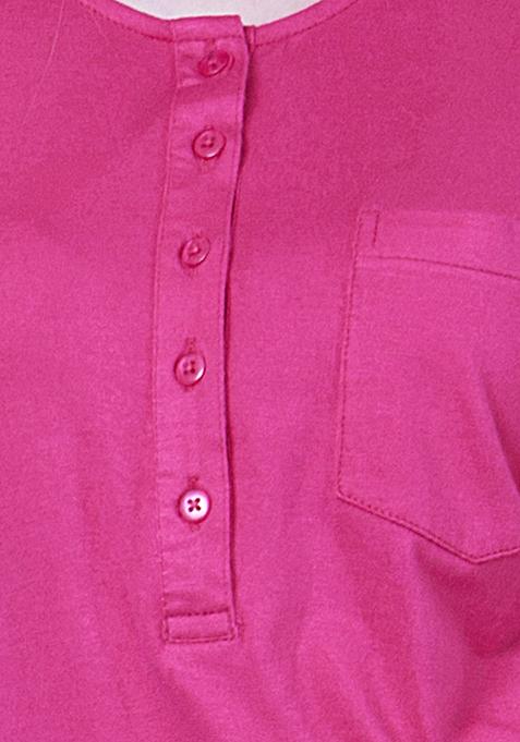 BASICS Classic Henley Tee - Pink
