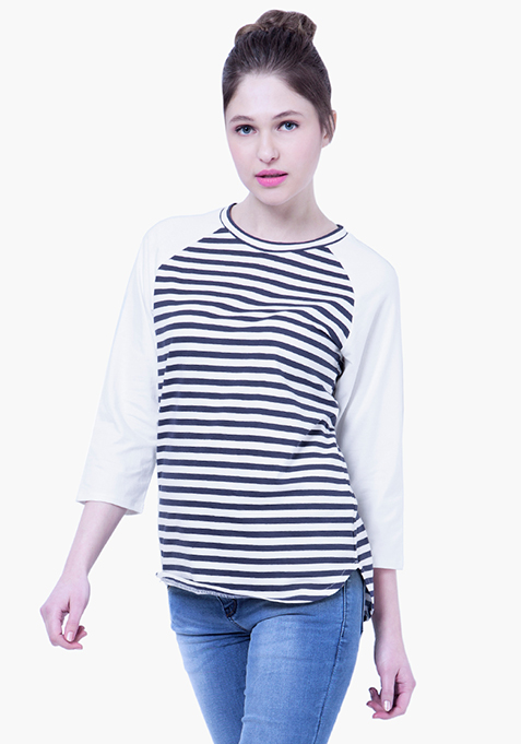 BASICS Striped Baseball Tee - Navy
