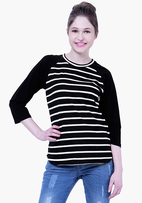 BASICS Striped Baseball Tee - Black