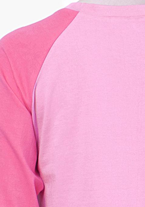 BASICS Pink Baseball Tee