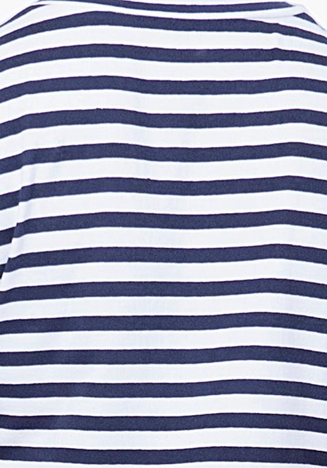 BASICS Cool Chick Striped Tee - Navy