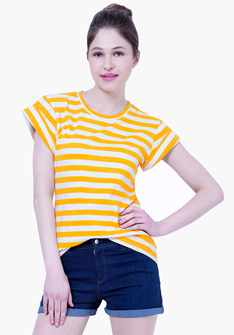 BASICS Cool Chick Striped Tee - Yellow
