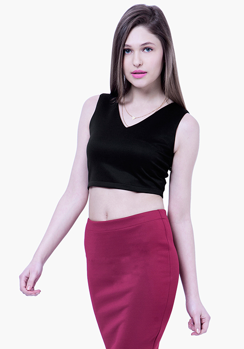 BASICS Scuba Crop Top - Black