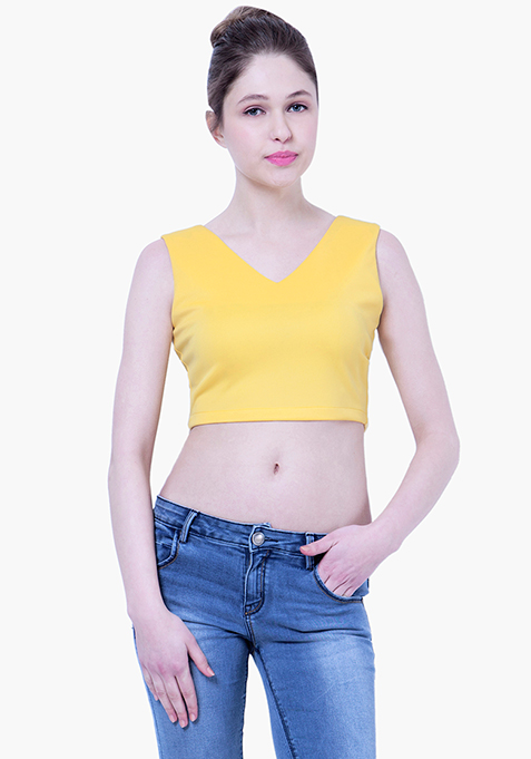 BASICS Scuba Crop Top - Yellow