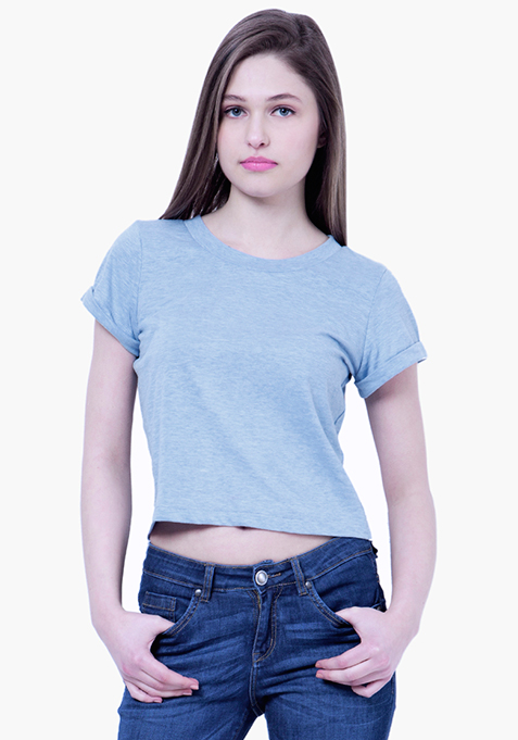 BASICS Blue Boxy Crop Top
