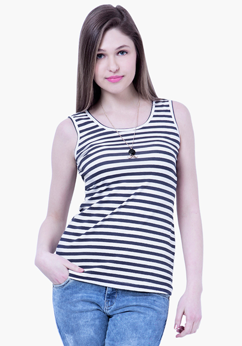 BASICS Striped Tank - Navy