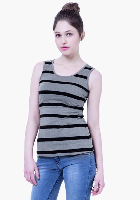 BASICS Striped Tank - Grey