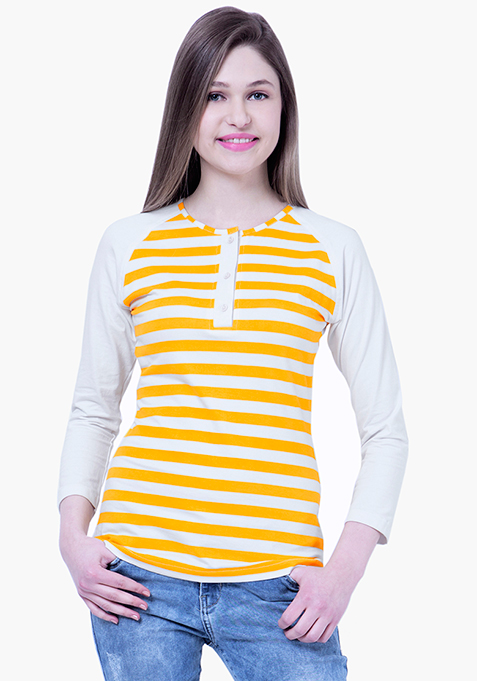 BASICS Striped Henley Tee - Yellow