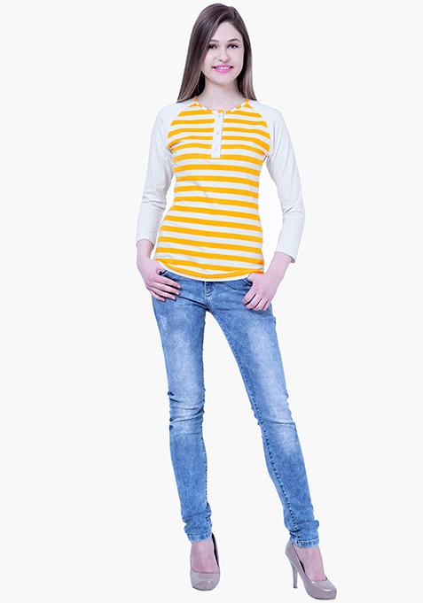 BASICS Striped Henley Tee - Yellow
