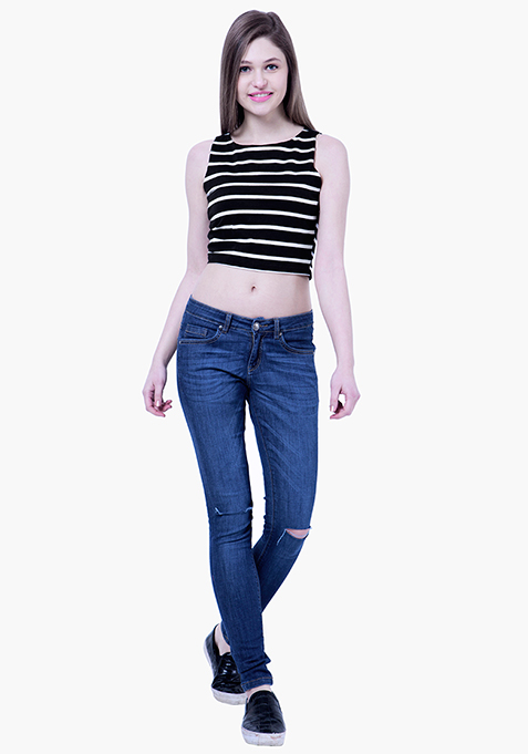 BASICS Striped Crop Top - Black