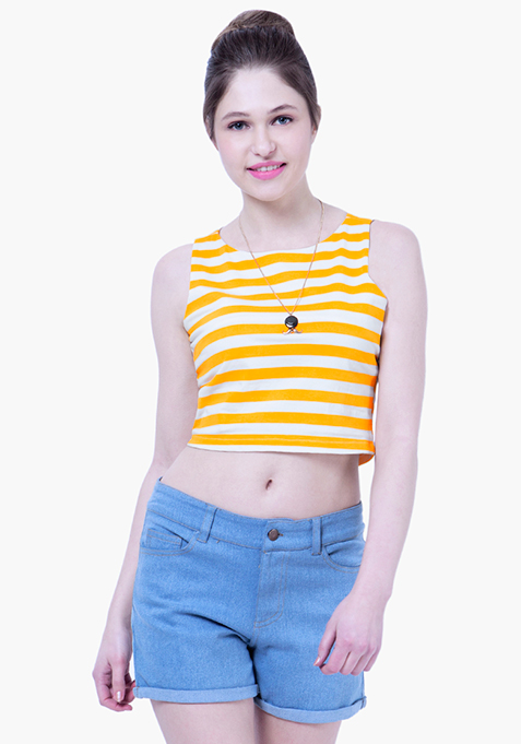 BASICS Striped Crop Top - Yellow