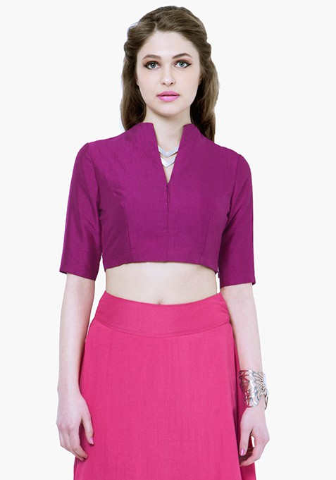 Purple Plush Silk Crop Top