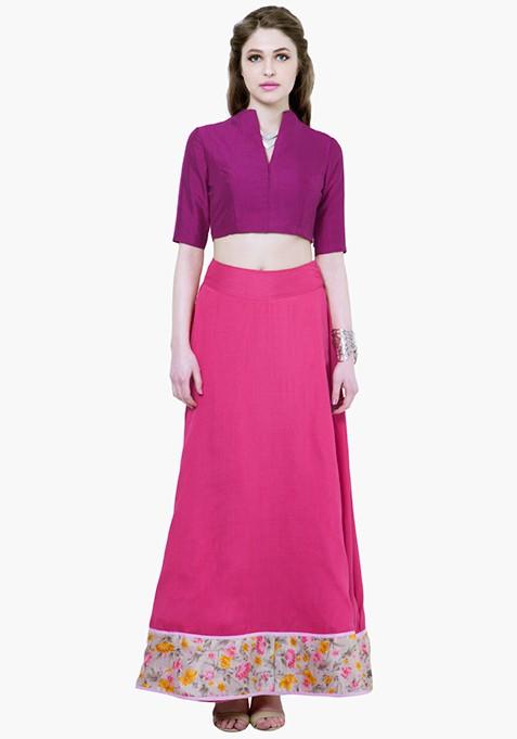 Purple Plush Silk Crop Top