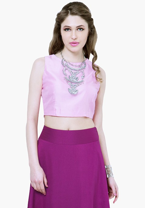 Rose Pink Silk Crop Top