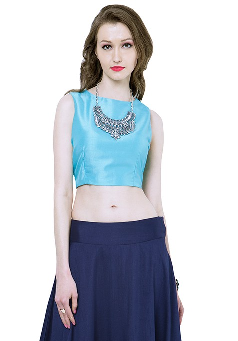 Aqua Silk Crop Top