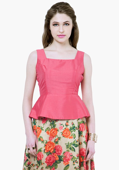 Silk Lush Peplum Top - Pink