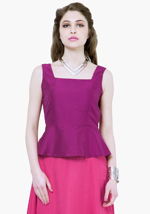 Silk Lush Peplum Top - Purple